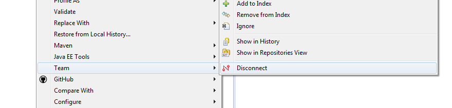 Disable git (EGit) functionality for a project in Eclipse